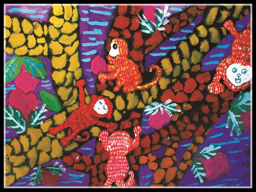 认知发展和儿童绘画发展规律 推出校外少儿美术教育阶段性架构体系。 面向3-18岁青少儿美术爱好者,提供美术能力学习、艺术活动与欣赏、美术知识考级与升学等美术教育服务。正确的教学理念、专业的师资队伍,十三年来坚定不移的教育理念,使希望美术教育成为中国少儿美术教育领军品牌。现在让我们一起来看看孩子的作品吧!  作品名称:《驰骋》 作品点评:热带草原上斑马群疾驰而去。画面中白色的面积与咖啡色纸张的搭配,更好的体现着油画棒的质感。大小高矮不同的斑马安排,也让画面的构成松动了许多。作者的造型能力非常强,多动物的四肢