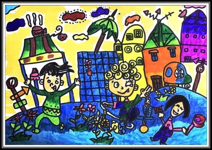 希望美术教育儿童绘画作品:放学途中