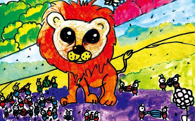 寓言故事创意绘画:狮子与蚂蚁图片