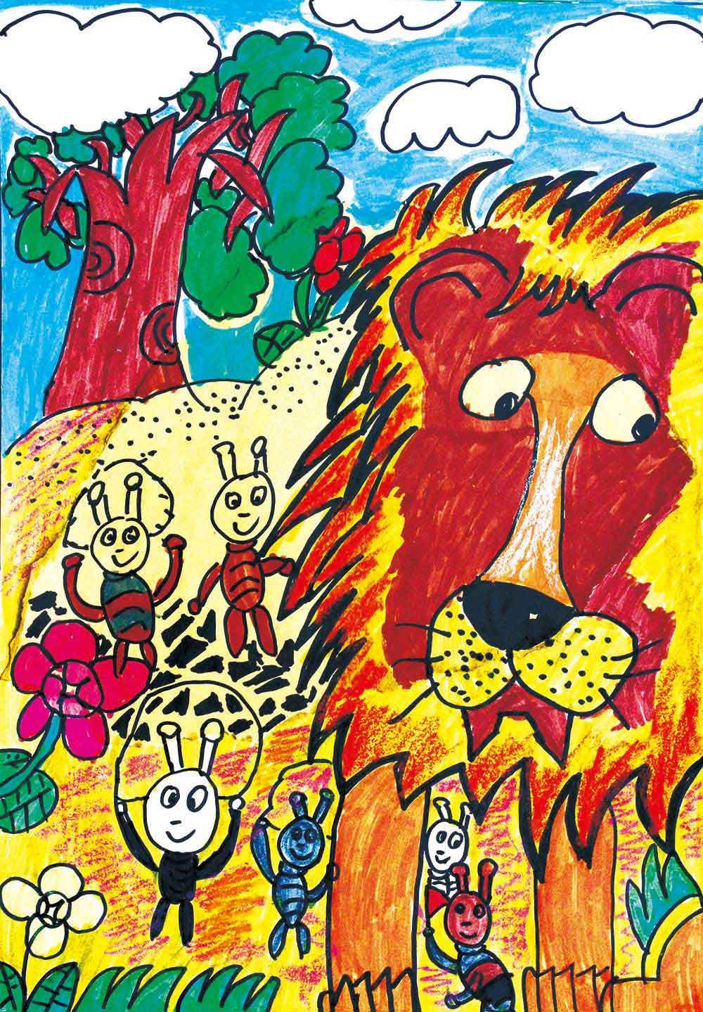 儿童创意美术作品:狮子与蚂蚁图片
