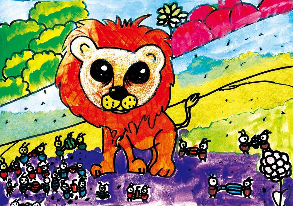 儿童创意美术作品:狮子与蚂蚁