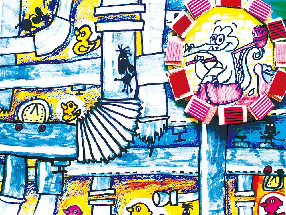 幼儿绘画作品:小鳄鱼爱洗澡