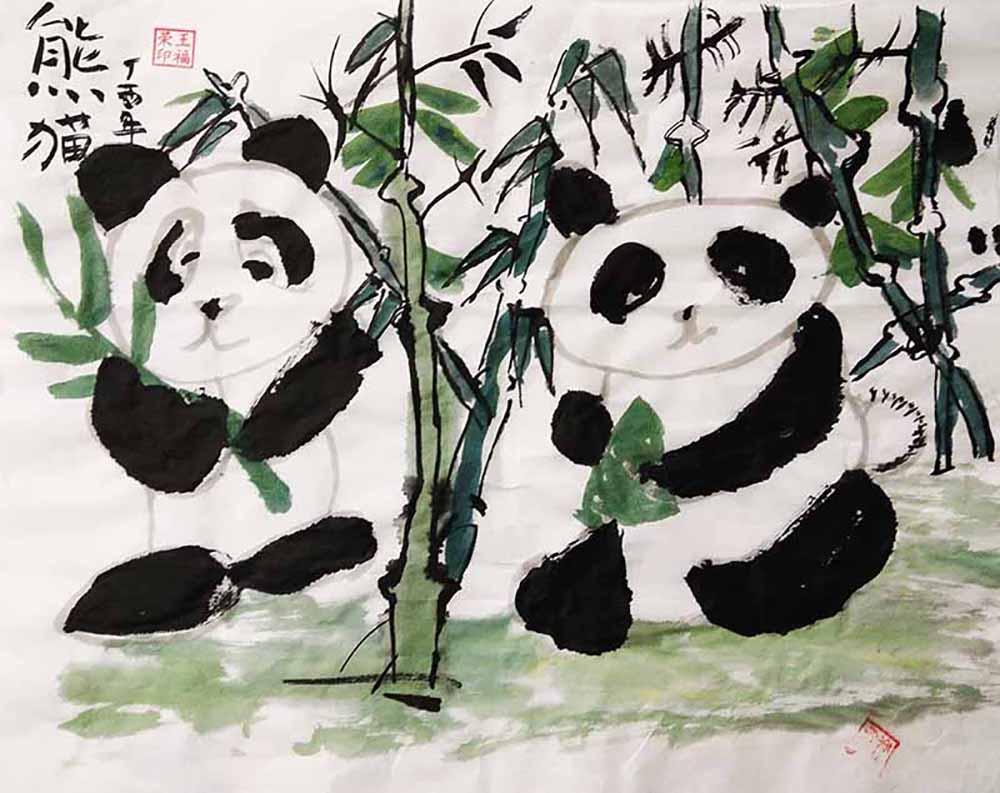 故事引导: 同学们,你们见过大熊猫吗?它有什么特点呢?大熊猫的样子憨态可掬,总让人感到亲切.它是那么的可爱,胖嘟嘟的身体上穿着黑白相间的毛外衣,这使它即使在严寒的冬天也不会感觉到冷。特别突出的是那双标志性的熊猫眼,仿佛永远也睡不够似的。大熊猫已在地球上生存了至少800万年,被誉为活化石和中国国宝,世界自然基金会的形象大使,是世界生物多样性保护的旗舰物种。 作品点评: 通过本堂课的学习,小朋友们学会了画各种不同动态的大熊猫,能够运用勾染法完成熊猫的外形特征,并学会适当留白,创作出一幅生动