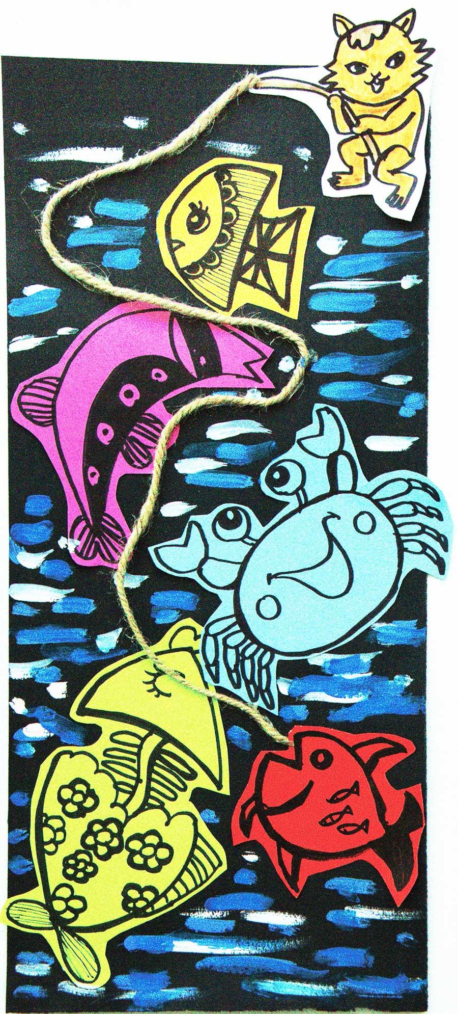 美术作品小猫钓鱼_希望美术教育儿童基础线描作品:小猫钓鱼