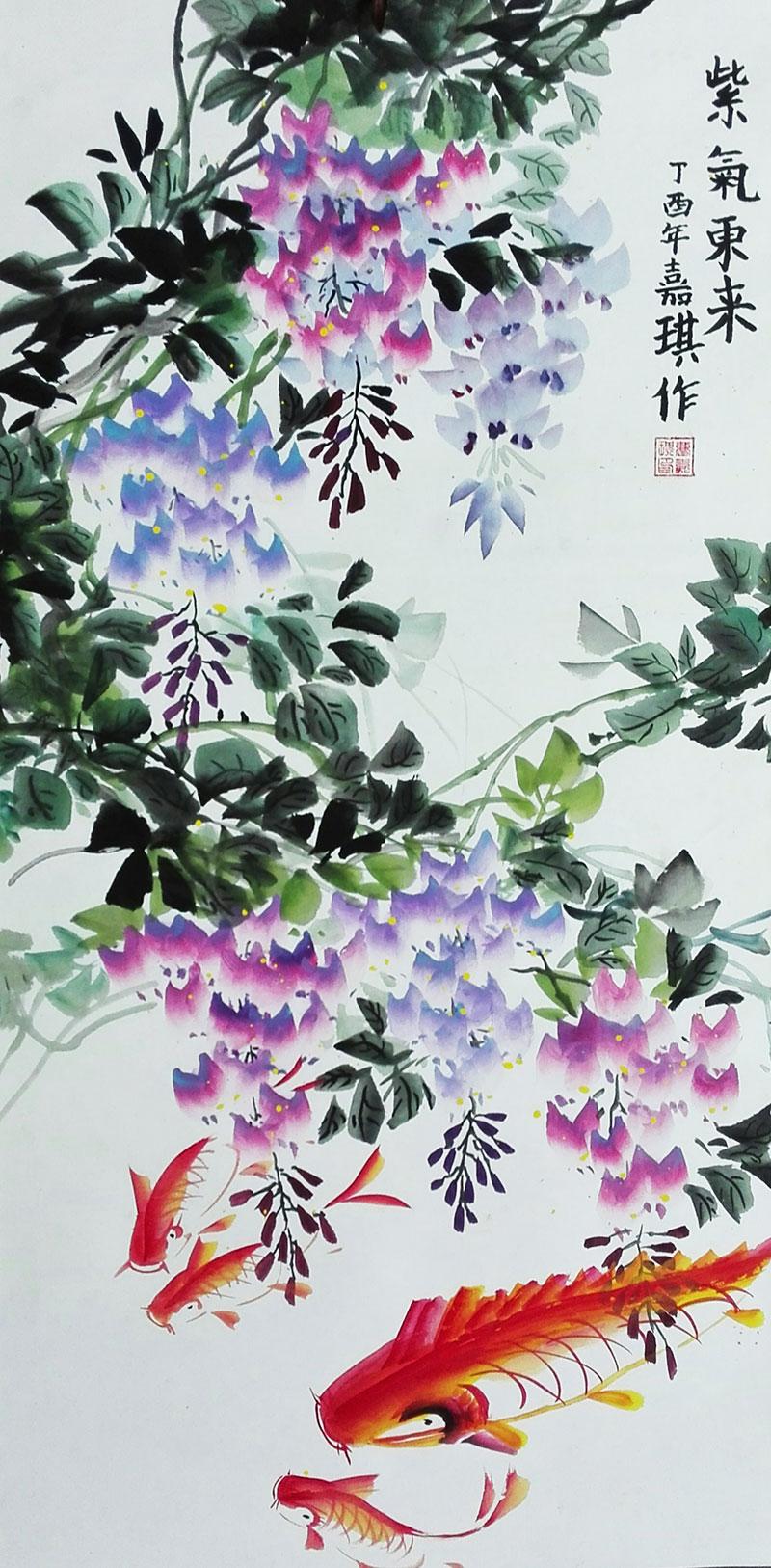 希望美术教育儿童国画作品之花鸟《紫藤》