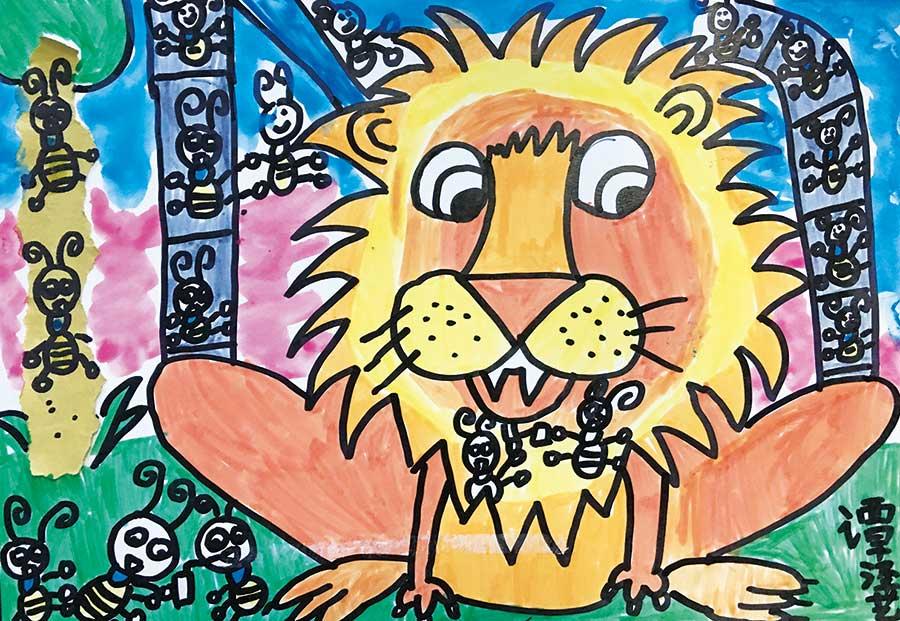 美术作品小猫钓鱼_谭泽艺作品:咏鹅、小猫钓鱼、蔬菜写生、狮子与蚂蚁、龙虾 ...