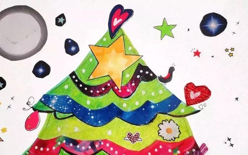 平时快递留下来的气泡袋也可以来作画     merry christmas棉球圣诞老人拼贴纸盘 我们需要准备一些 棉球、纸盘、一瓶胶水、还有颜料  merry christmas水彩圣诞树:  用铅笔画出圣诞树的造型轮廓,记得画水彩画轮廓要轻一些。  用水彩颜料蘸水将圣诞树平涂 (画水彩颜料不要太多控制好水粉顺着轮廓去平涂)  在平涂过后,半干未干状态,用一些深色丰富画面,达到自然晕染  我们可以事先准备一些涂完颜色的废纸 也可以找一些有纹理颜色的报纸剪出一些花边 贴在刚画好的圣诞树上,效果不错。  画一